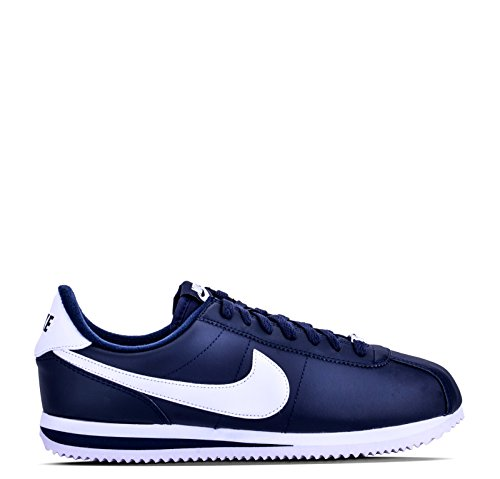 (Nike Men's Cortez Basic Leather Casual Shoe Obsidian/White/Metsllic Silver 8 D(M) US )
