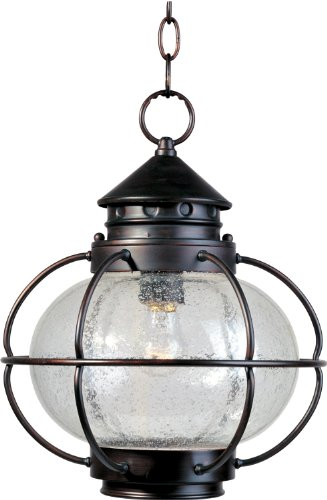Maxim 30506CDOI Portsmouth 1-Light Outdoor Hanging Lantern, Oil Rubbed Bronze Finish, Seedy Glass, MB Incandescent Incandescent Bulb , 40W Max., Dry Safety Rating, 2900K Color Temp, Standard Dimmable, Glass Shade Material, 7200 Rated Lumens ()