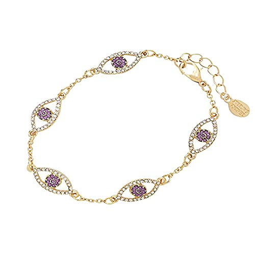 - Sterling Forever - 14K Gold Plated Evil Eye Bracelet with Cubic Zirconia Stones (Choose Your Own Color) (Orchid)