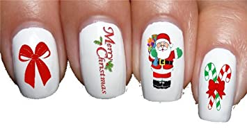 Christmas Nails Acrylic.Amazon Com Santa Claus Red Bow Christmas Nail Decals Nail