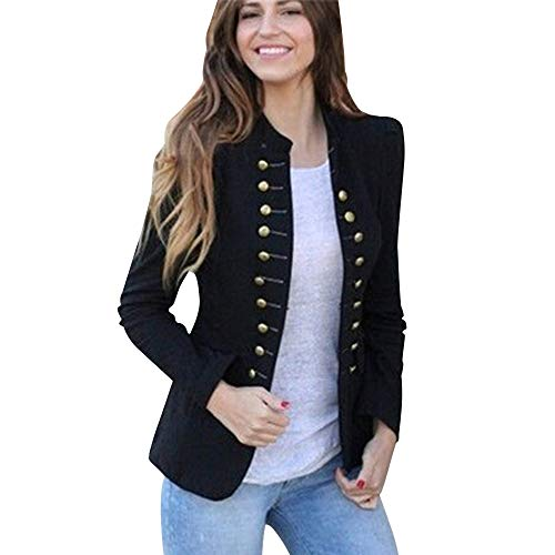 (Orangeskycn Women Double Breasted Retro Blazer Jacket Overcoat)