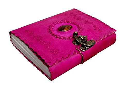 TUZECH Handmade 100% Pure Leather Diary Leather Journal for Office Home Daily Use With C Lock 7 Inches (Pink)