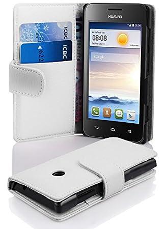 Cadorabo Carcasa para Huawei Ascend Y330 en Funda con Tarjetero de struktri ertem Piel sintética Case Cover Carcasa Funda Book Style Magnesio Color Blanco: ...