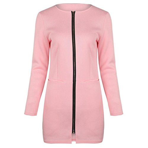 Pink Plain Women's Idea Loose Coat Pocket Simple Sleeve Misaky Gift Zipper Long BqSwPHP