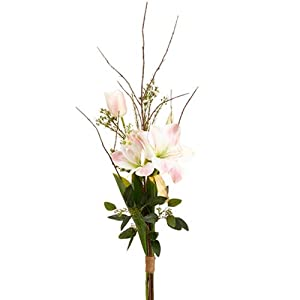 "39"" Handwrapped Amaryllis, Tulip & Lilac Silk Flower Bouquet -White/Pink (Pack of 6) 59"