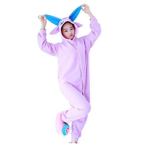 Unisex Adult Anime Sleepsuit Animal Costume Cosplay Lounge Wear Onesie Pajamas (S, Espeon)