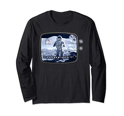 Fake Moon Landing Conspiracy Hoax Area 51 Live Broadcast Long Sleeve T-Shirt
