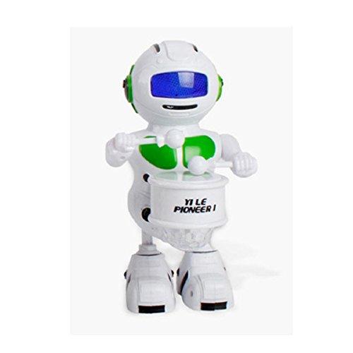 Hot sale! Electronic Toy,Sunfei Walking Dancing Drum Smart Bot Robot Astronaut Kids Music Light Toys (Green)