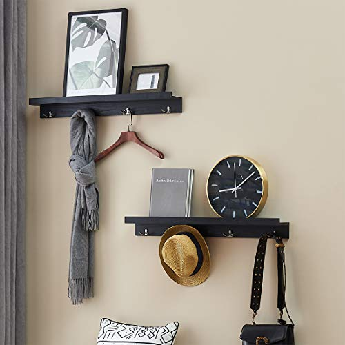 "4 Hook Double Coat - O&K Furniture 31.5"" Wall Mounted Coat Hooks Rack with Shelf, Entryway Shelf with 4 Double Hooks(Black, Set of 2)"
