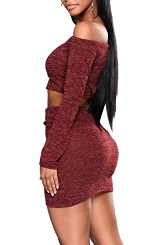 fcf569e7dc2a Sleeve Skirt Queen Bodycon Women s Sexy 2 Crop Top Midi V Dresses Burgundy  Neck Pink long Piece Club Set Tq0F4
