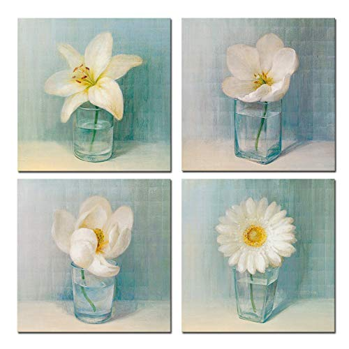 sechars - 4 Panel Vintage Flower Canvas Wall Art for Home Office Decoration Modern Floral Canvas Artwork White Lily Daisy Flower Vase Picture Giclee Print on Canvas Teal Art Ready to Hang