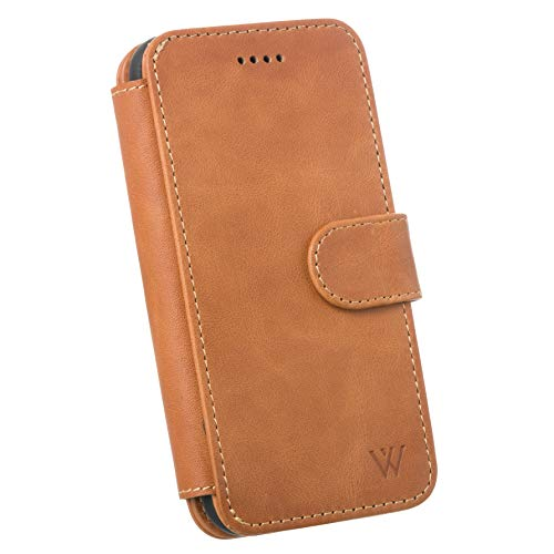 Wilken iPhone 7/8 Leather Wallet with Detachable Phone Case   Wireless Charging Compatible with iPhone 8   Top Grain Cowhide Leather   Tan