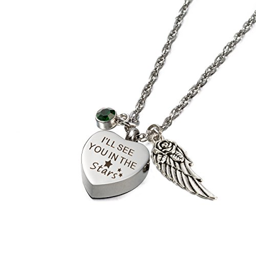 Glimkis Personalised Cremation jewelry I'll see you in the Stars urn necklaces for ashes with Birthstone ()