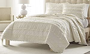 Stone Cottage Ruffled Quilt Set, King, Ivory