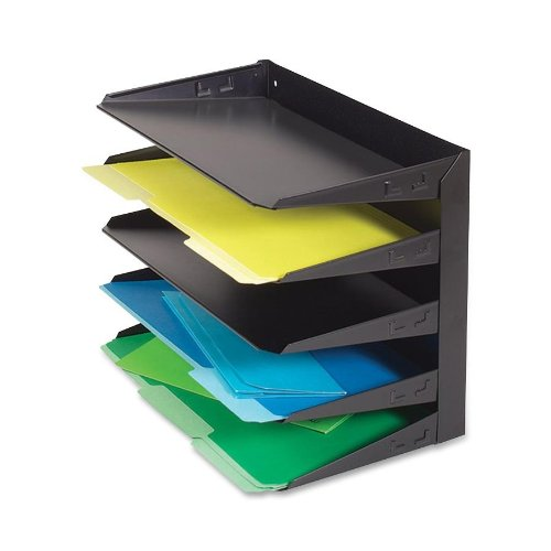 STEELMASTER 5-Tier Steel Legal Size Horizontal Organizer, 15.8 x 12.7 x 9.5 Inches, Black (Legal Desk Tray)