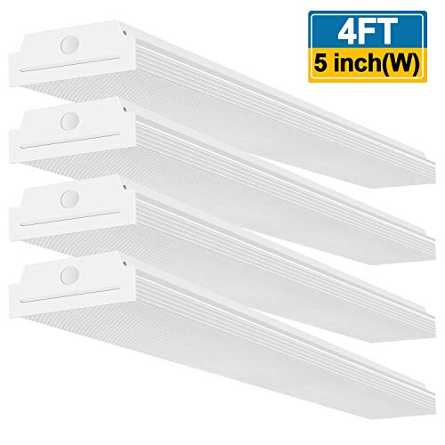 Around Light Fluorescent Wrap (FaithSail 4FT LED Wraparound 40W Wrap Light, 4400lm, 4000K Neutral White, 4 Foot LED Shop Lights for Garage, 4' LED Light Fixtures Ceiling Mount Office Lights, Fluorescent Tube Replacement, 4 Pack)
