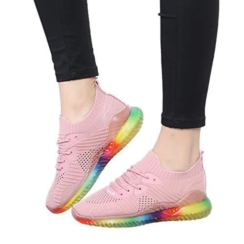 [해외]여성 트렌드 레인보우 젤리 솔 스니커즈 메쉬 경량 통기성 신발 운동 러닝 워킹 체육관 레이스 업 소프트 솔 / Women`s Trend Rainbow Jelly Soles Sneakers Mesh Lightweight Breathable Shoes Athletic Running Walking Gym Lace Up Soft Sole
