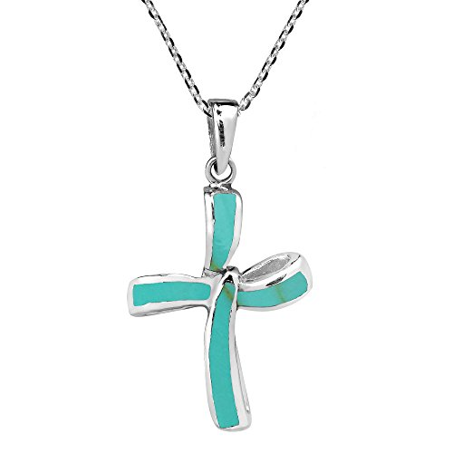 AeraVida Infinity Twist Cross Simulated Turquoise .925 Sterling Silver Pendant Necklace