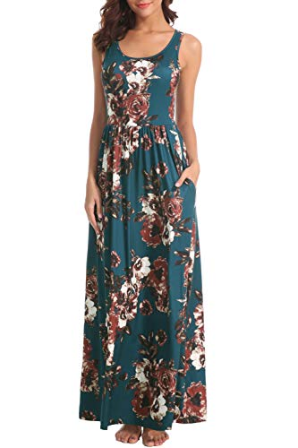 Zattcas Women Floral Tank Maxi Dress Pocket Sleeveless Casual Summer Long Dress (Large, Style 2-Teal with Normal Back) ()
