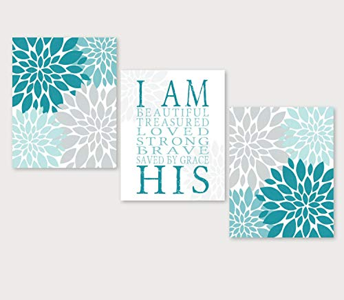 Blafitance Teal Christian Gift for Girl Bedroom Art Teen I Am HIS Gray Religious Girls Wall Decor Custom Wall Art Bathroom Art Set
