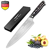 Aroma House 8 Inch Chef Knife, Damascus Pattern Blade Kitchen Knives, Meat Vegetables Fruit Knife, Best Food Cutter for Home and Kitchen, Ergonomic Pakkawood Handle, Gift Box