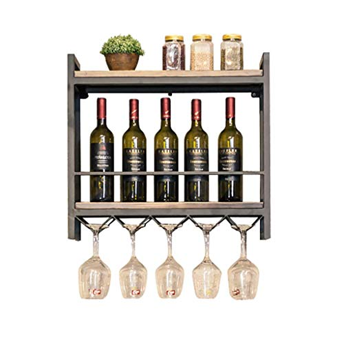 TangMengYun Double Solid Wood Wine Rack Wall Hanging Wrought Iron Wall Storage Wine Display Stand Wine Glass Rack Goblet Rack (Size : 60cm)