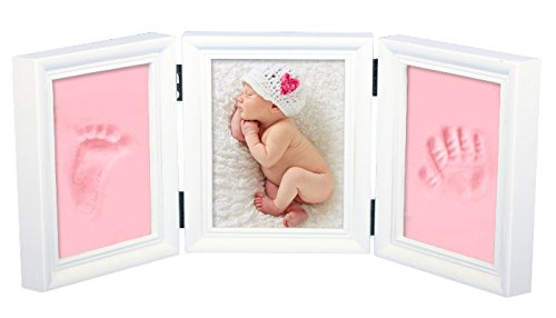 Precious Baby Handprint and Footprint Frame Package-Quality Wood Frame with Safe Clay-Baby Gift,Best Baby Shower or Keepsake Personalized Gift . (pink)