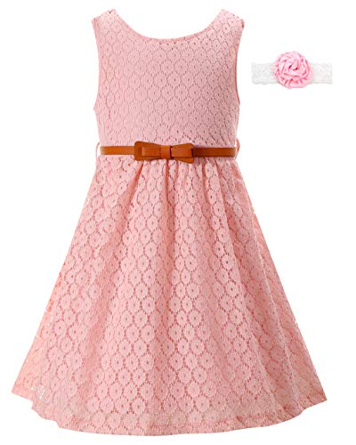 Girls Dresses for Casual Wedding Party Bridesmaid Church Kids Size 9-10 Years Lace Pink Sleeveless Fancy Vintage Long Dress Girls Formal Dresses 7-16 Pink Casual Dresses for Teens (Pink,170)
