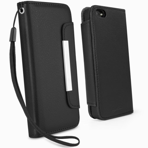 - iPhone 5 Case, BoxWave [Leather Clutch Case] Synthetic Leather Wristlet w/ Fashionable Design for Apple iPhone 5, SE, 5s - Nero Black