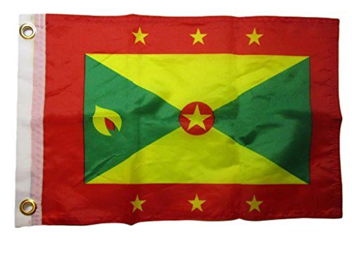 ALBATROS 12 inch x 18 inch Grenada Country 100% Polyester Motorcycle Boat Flag Grommets for Home and Parades, Official Party, All Weather Indoors Outdoors