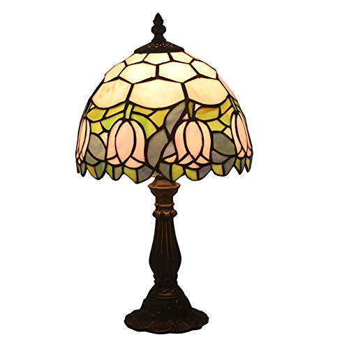 Tiffany Style Table Lamp Retro Style Handmade Bedside Table Lamp Pink Tulip Pattern Lampshade Decoration Home Lighting Bedroom Fashion Lamp 8 '' ()