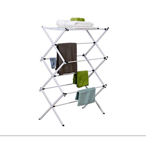 Folding Electric Clothing Dryer Free Standing Clothes Towel Drying Rack Heater Foldable Heated Airer Laundry Furniture-L70W34H105CM