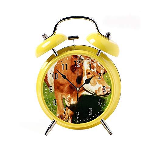 ZEREO 5 Colors Child Portable Cute Round Battery Alarm Clock Desktop Table Bedside Clocks Decor Yellow Alarm Clock Gift Cow on Field (Cow Alarm Kids Clock)