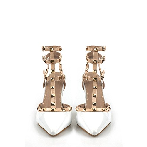 Anya Womens Ladies High Heel Stiletto Open Back Anklestrap With 3 Buckles Studded Trim Strappy Pointy Court Shoe White MxZqYH0