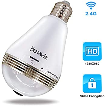 Light Bulb Cameras, AES Encryption Hidden Security Cams W/O Sd Card, Wireless WiFi 360 Panoramic VR Fisheye Spy IP CCTV Video Surveillance, Home Front Porch ...