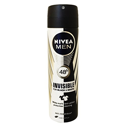 Nivea for Men Invisible for Black and White Deodorant Spray 150ml 48 Hr Antiperspirantl (Pack of 6) + Our Travel Size Perfume