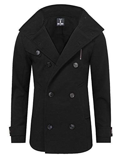 Tom's Ware Mens Stylish Fashion Classic Wool Double Breasted Pea Coat TWCC06-08-BLACK-US L (Double Breasted Coat Jacket)