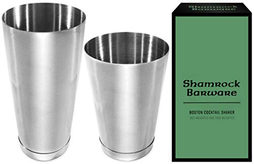 Easy Open Stainless Steel Boston Shaker. Professional Bartender Cocktail Shaker Set: 18 & 28oz Tins are Dual Weighted & Fully Welded onto Bases. Perfect for Beginner by Shamrock Barware