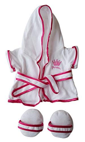 - Princess Bath Robe W/Slippers Pajamas Teddy Bear Clothes Fit 14