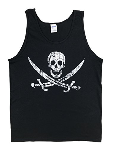 how-z-it Pirate Flag Jolly Roger Calico Jack Tank Top (Small, Black)