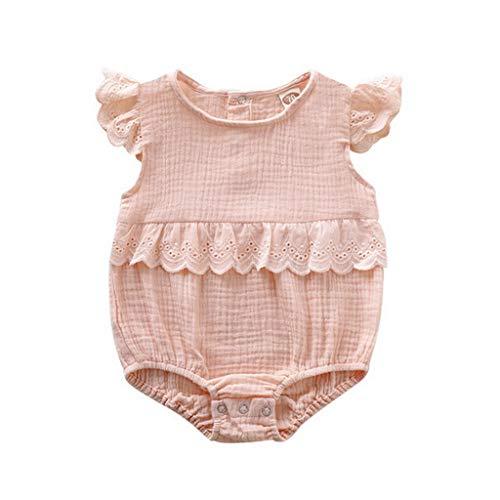(Newborn Kids Baby Girls Clothes Sleeveless Romper Dress Cotton Linen Outfits Baby Clothing(12Months,B))