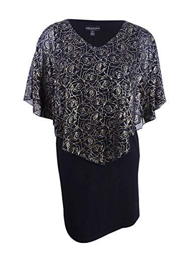 (Connected Women's Metallic-Floral Chiffon Cape Dress (12, Black/Gold))