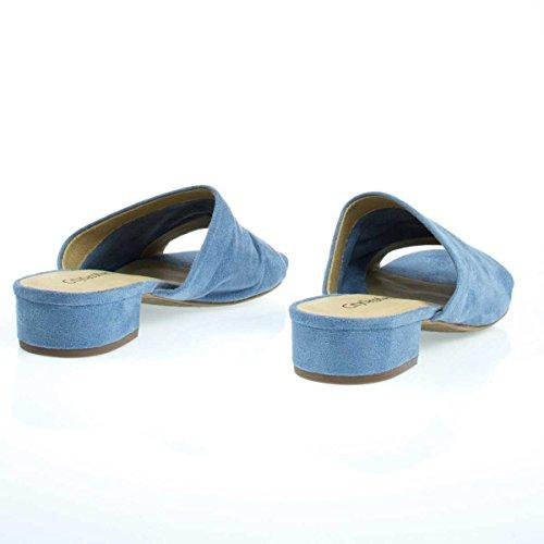 City Classified Low Chunky Block Heel Mule/Slipper Sandals, Womens Open Toe Slides Blue