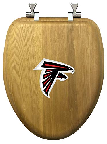 - Elongated Oak Wood Toilet Seat Featuring The Choice of Your Favorite Football Team Logo on The Top of The Toilet Seat! (Falcons)