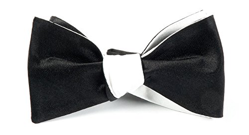The Tie Bar 100% Silk Black and White Solid Satin Reversible Self-Tie Bow Tie ()