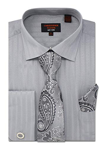 - Christopher Tanner Men's Regular Fit Dress Shirts with Tie Handkerchief Cufflinks Combo Herringbone Stripe Pattern Grey