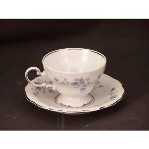 (Johann Haviland Blue Garland Footed Cups & Saucers )