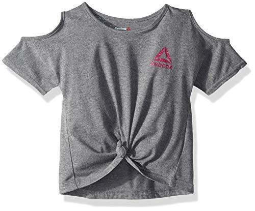 Jersey Reebok Tie - Reebok Little Best Girl Ever Cold Shoulder Tie Knot T-Shirt, Dark Heather Grey 5