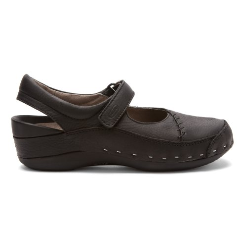 Scarpe Da Donna Wolky Strap-cloggy Shoes Nero Pull Up In Pelle