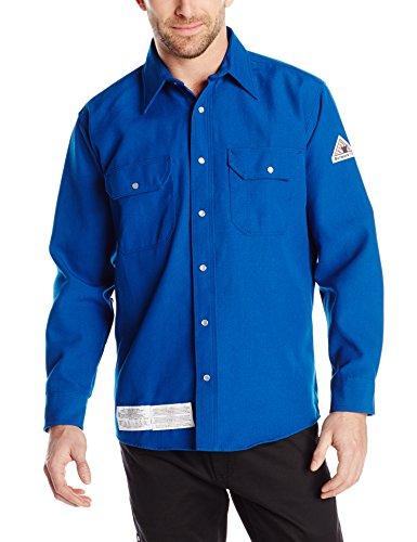 Nomex Iiia Snap - Bulwark Flame Resistant 6 oz Nomex IIIA Snap-Front Uniform Shirt, Royal Blue, Large Long